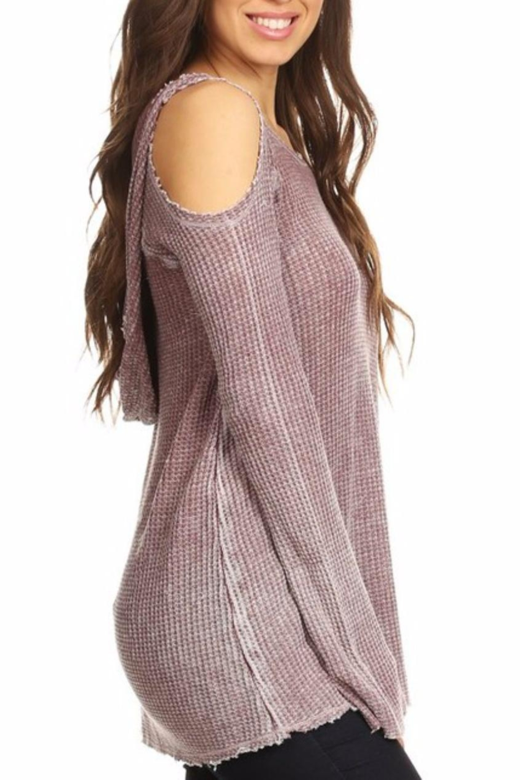 T Party Waffle Hoodie Tunic - Front Full Image