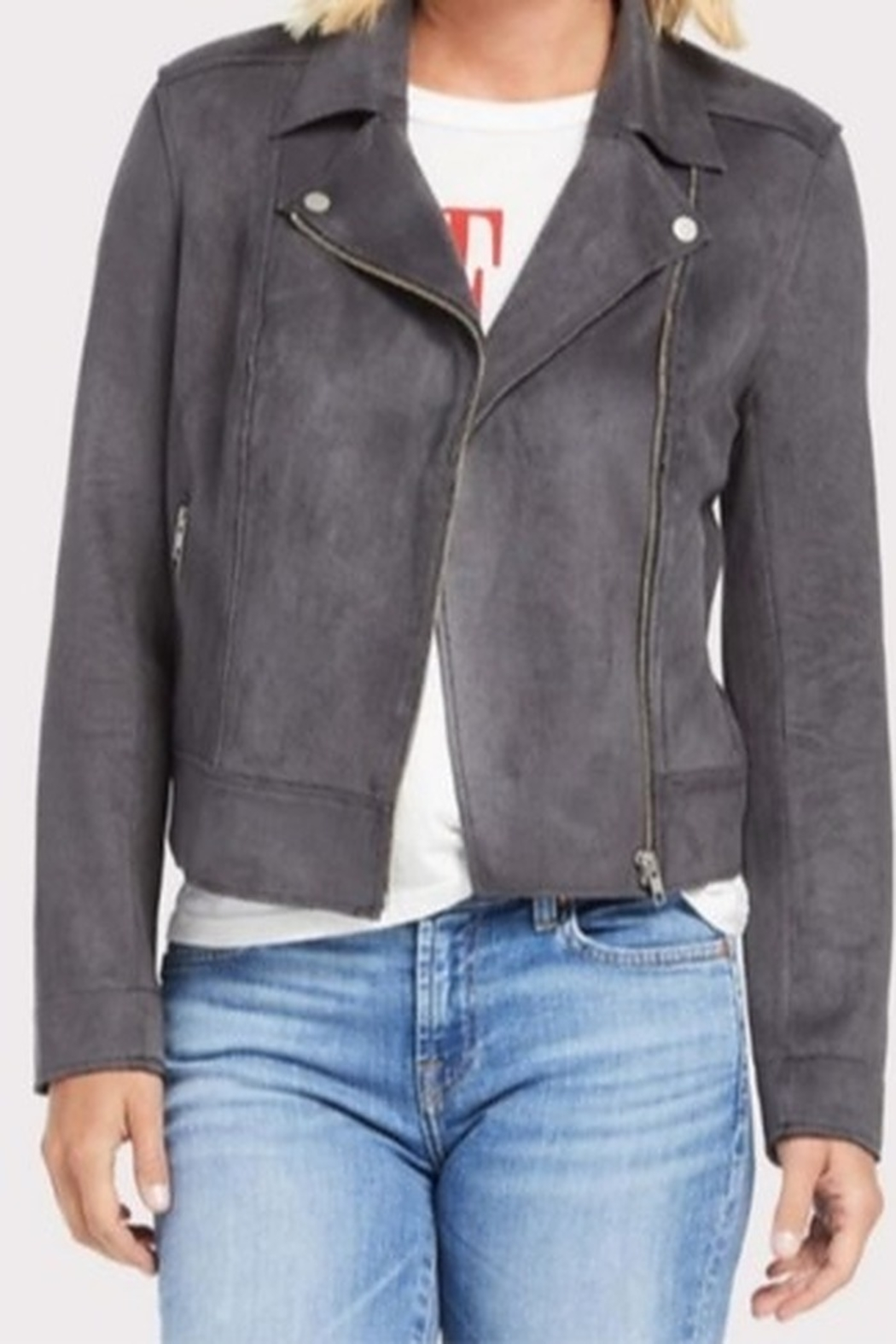 Level 99 Tabitha Faux Suede Moto Jacket - Front Cropped Image