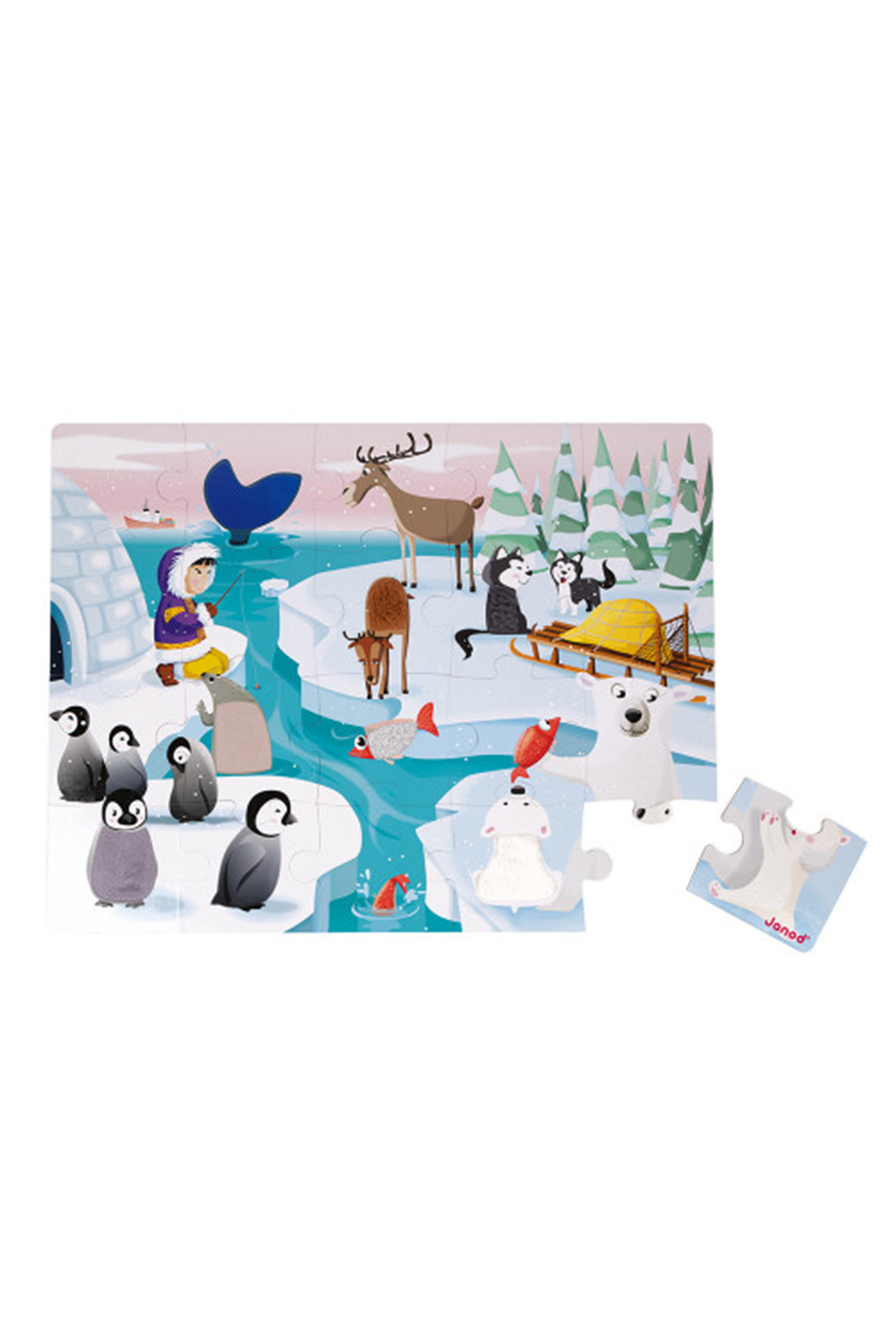Janod Tactile Puzzle Life On The Ice - Front Full Image