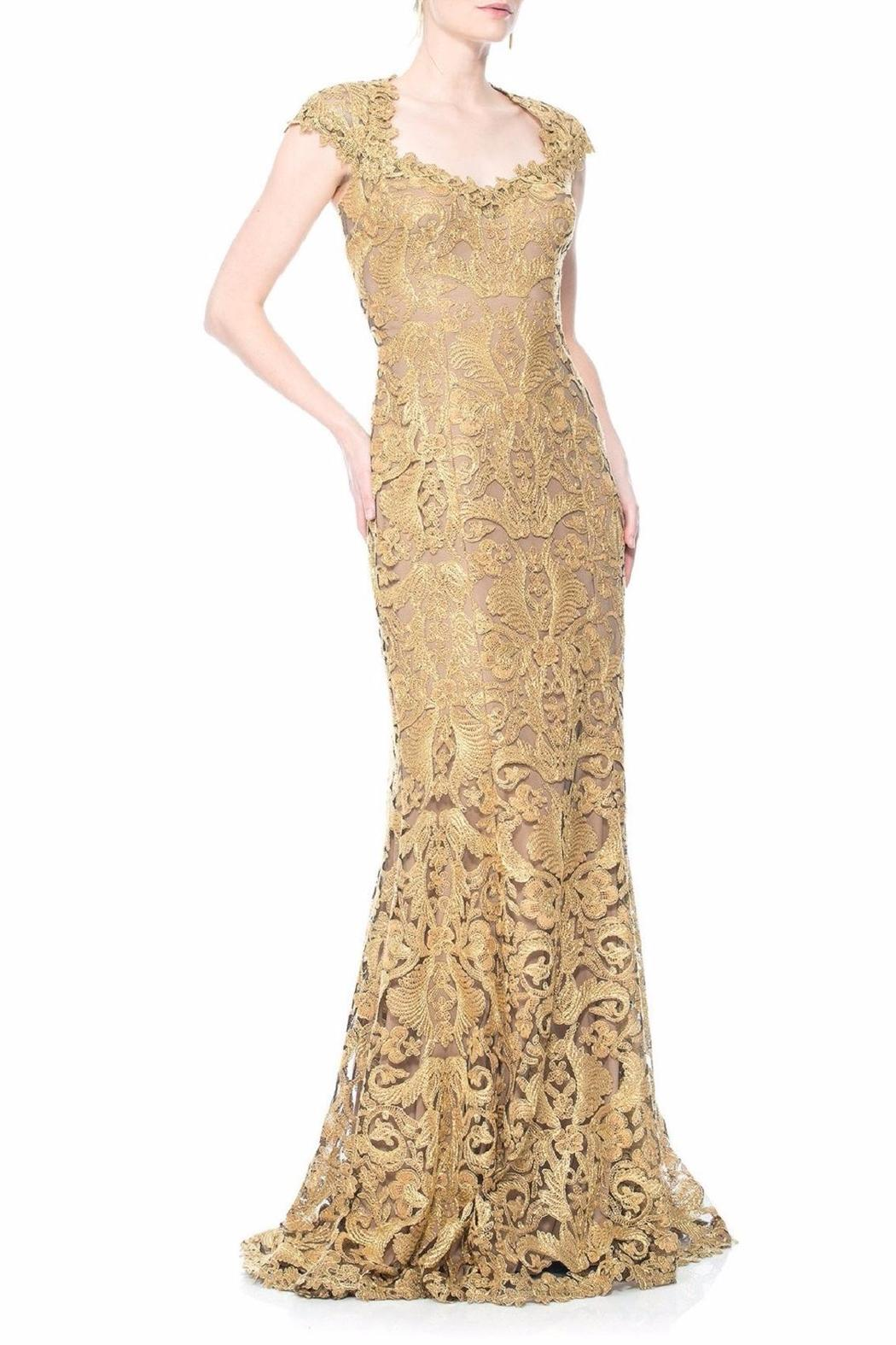 Tadashi Shoji Gold Lace Gown Front Cropped Image