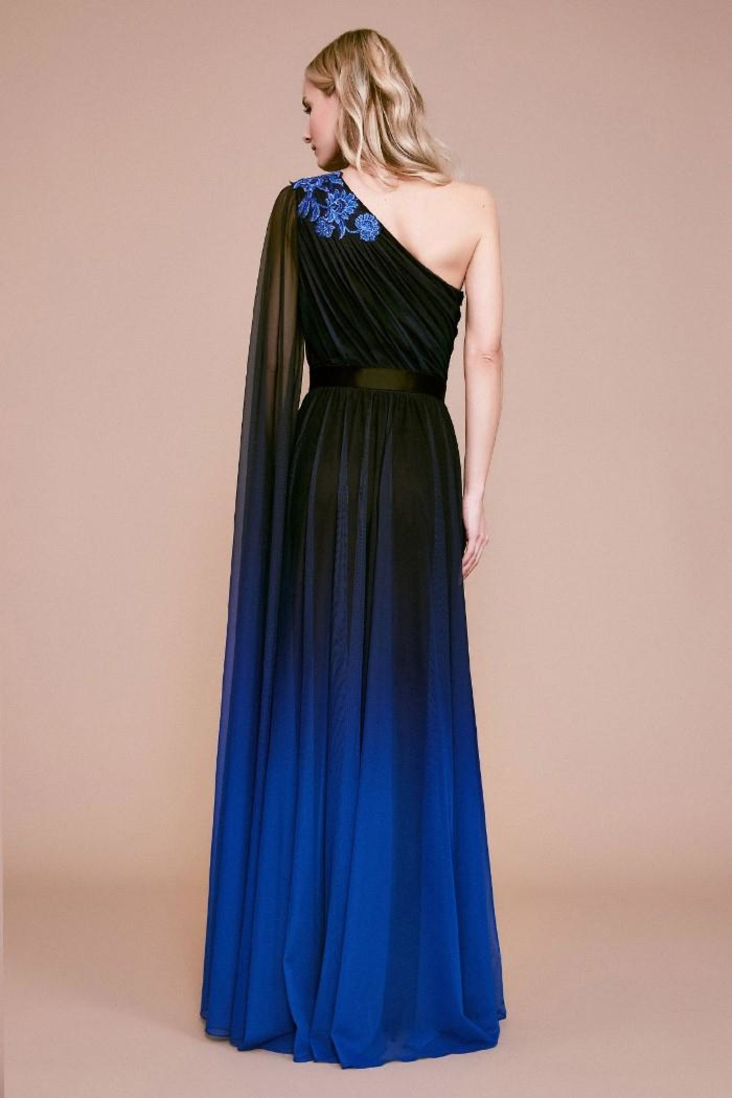 Tadashi Shoji One-Shoulder Ombre Gown - Front Full Image