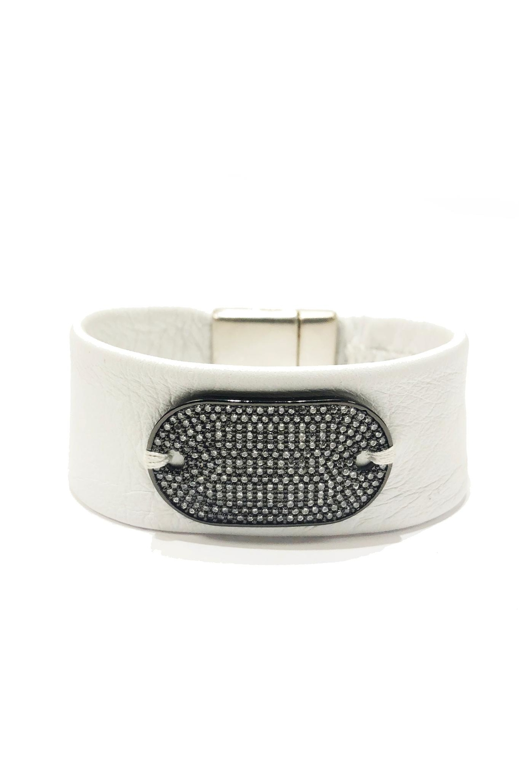 Lets Accessorize Tag White-Leather Bracelet - Main Image