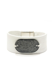 Lets Accessorize Tag White-Leather Bracelet - Front cropped