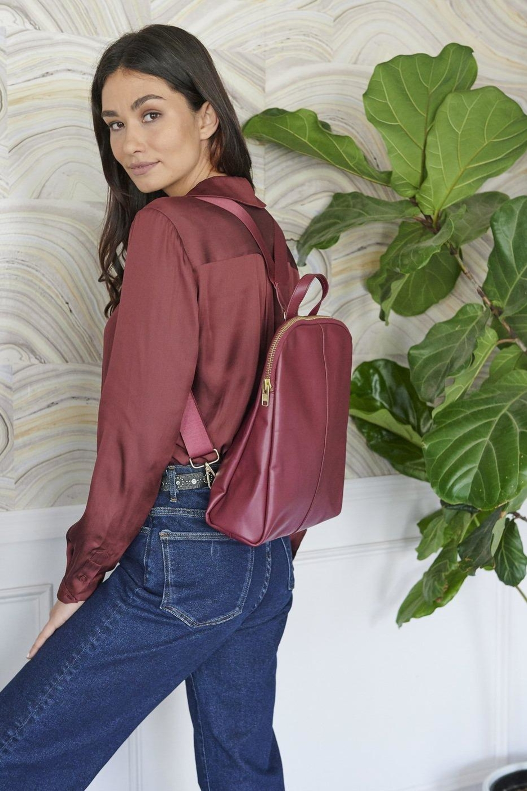 TAGS Leather Mini Backpack - Front Full Image