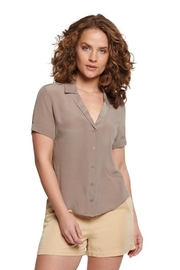 TAGS Short Sleeve Silk Top - Front cropped