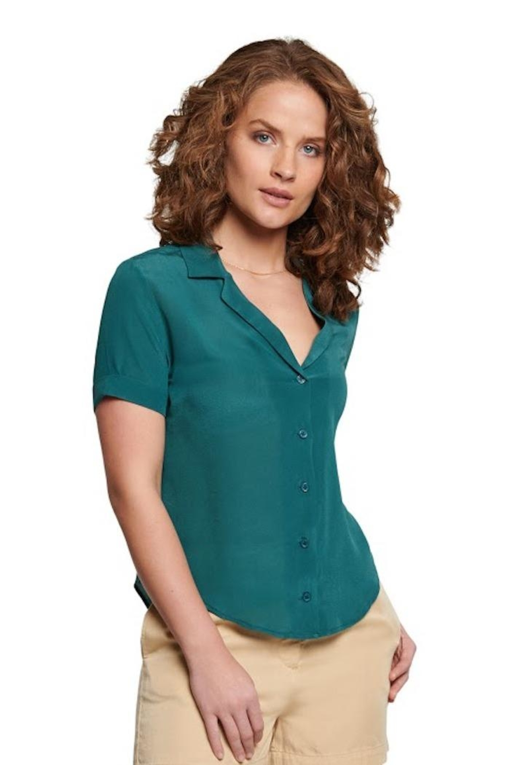 TAGS Short Sleeve Silk Top - Front Cropped Image
