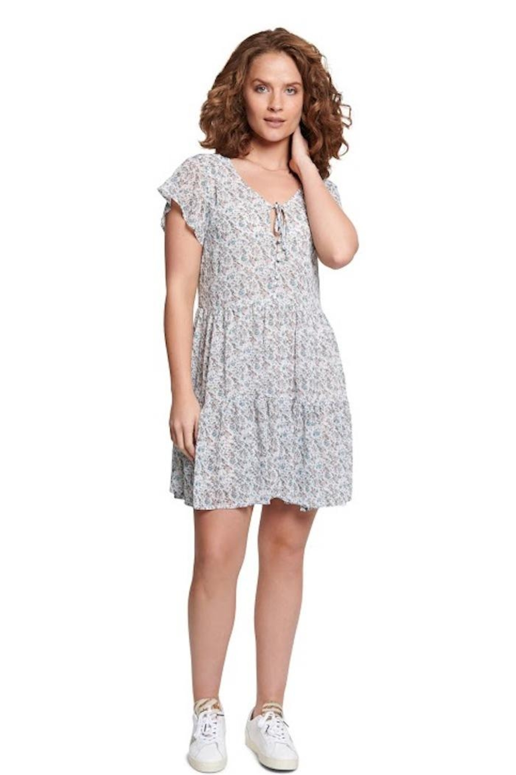 TAGS Winter White Floral Dress - Main Image