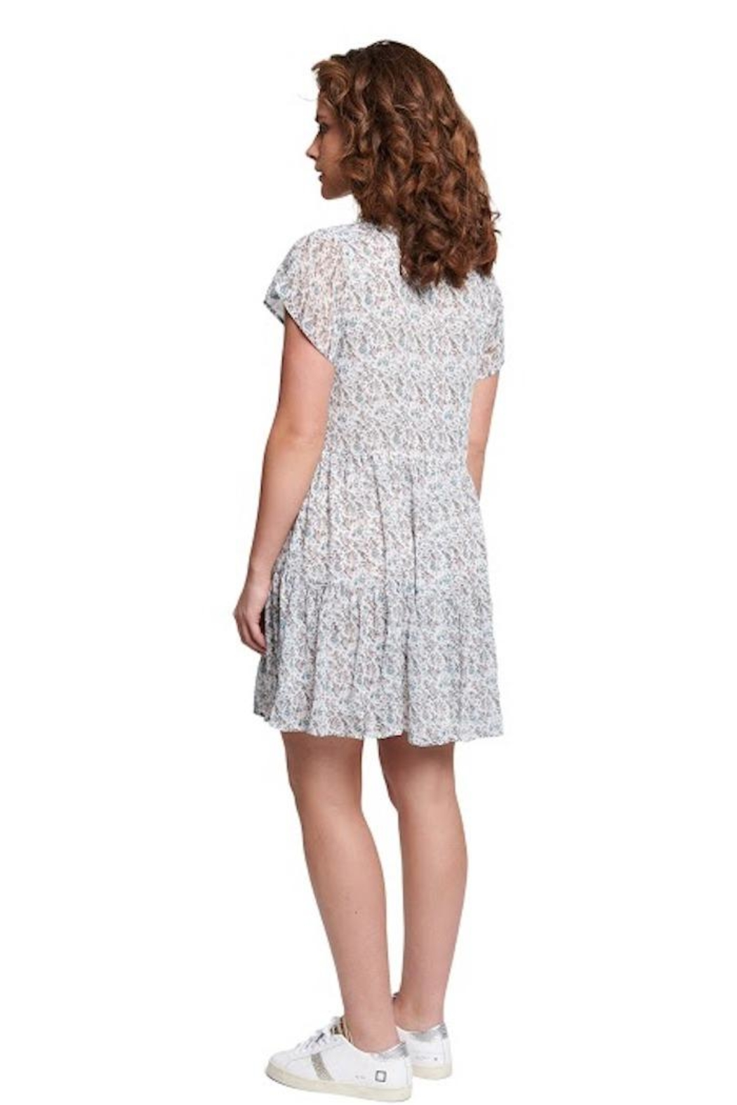 TAGS Winter White Floral Dress - Side Cropped Image
