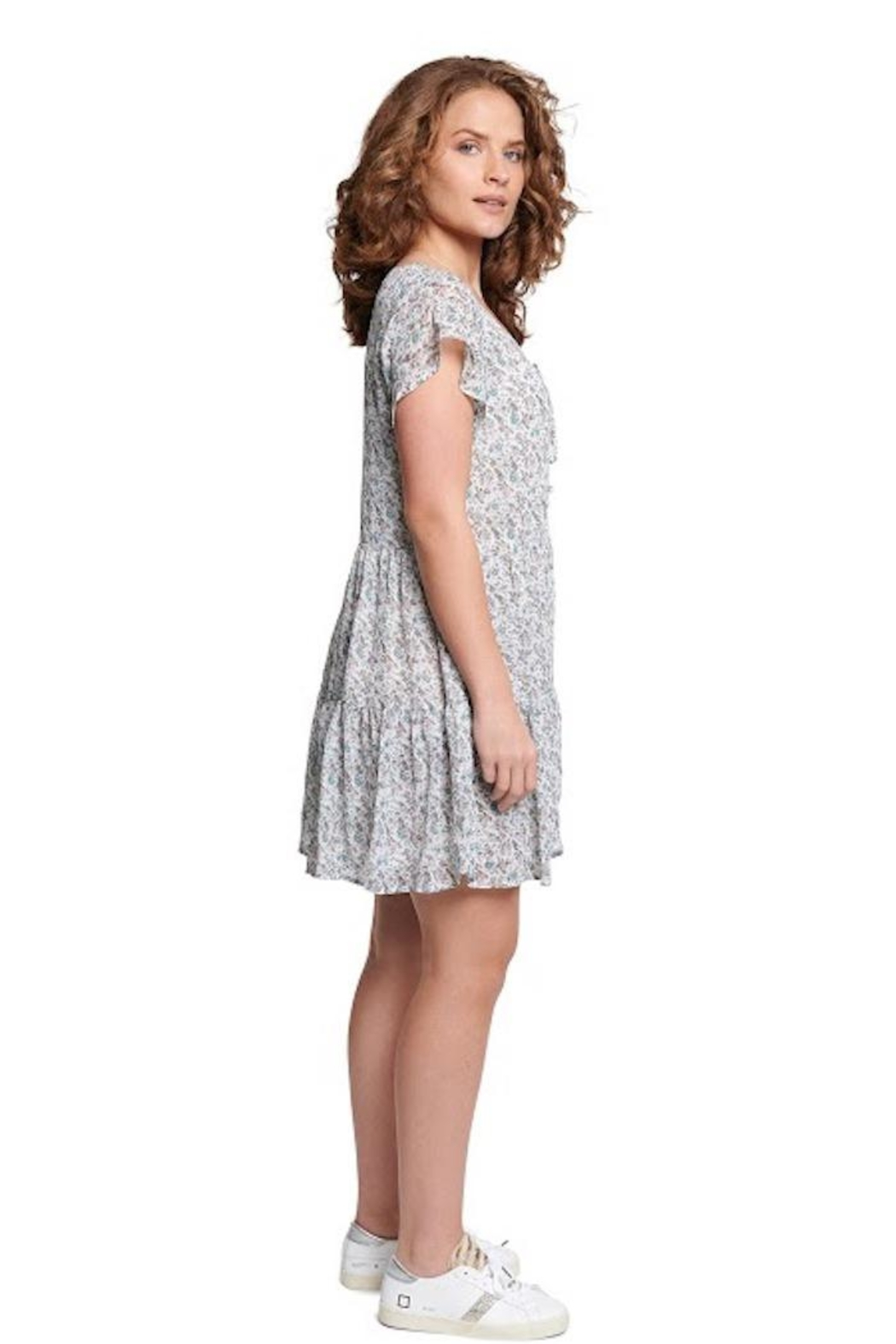 TAGS Winter White Floral Dress - Front Full Image