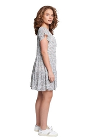 TAGS Winter White Floral Dress - Front full body