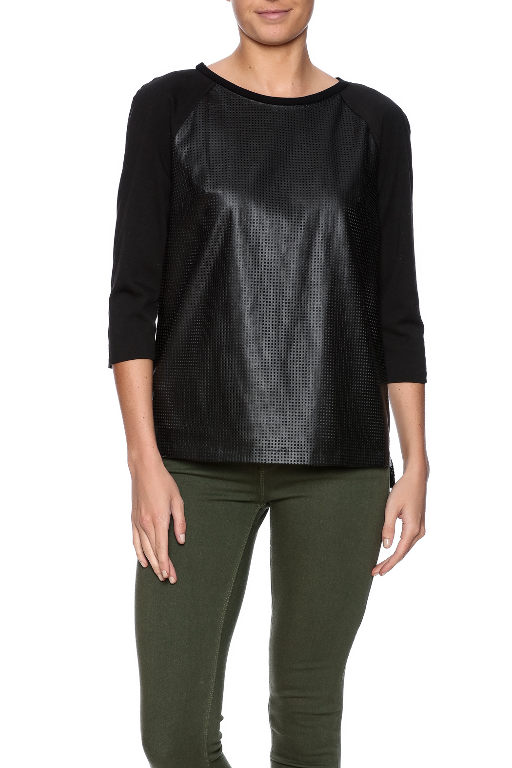 Tahari Laser Cut Top - Front Cropped Image