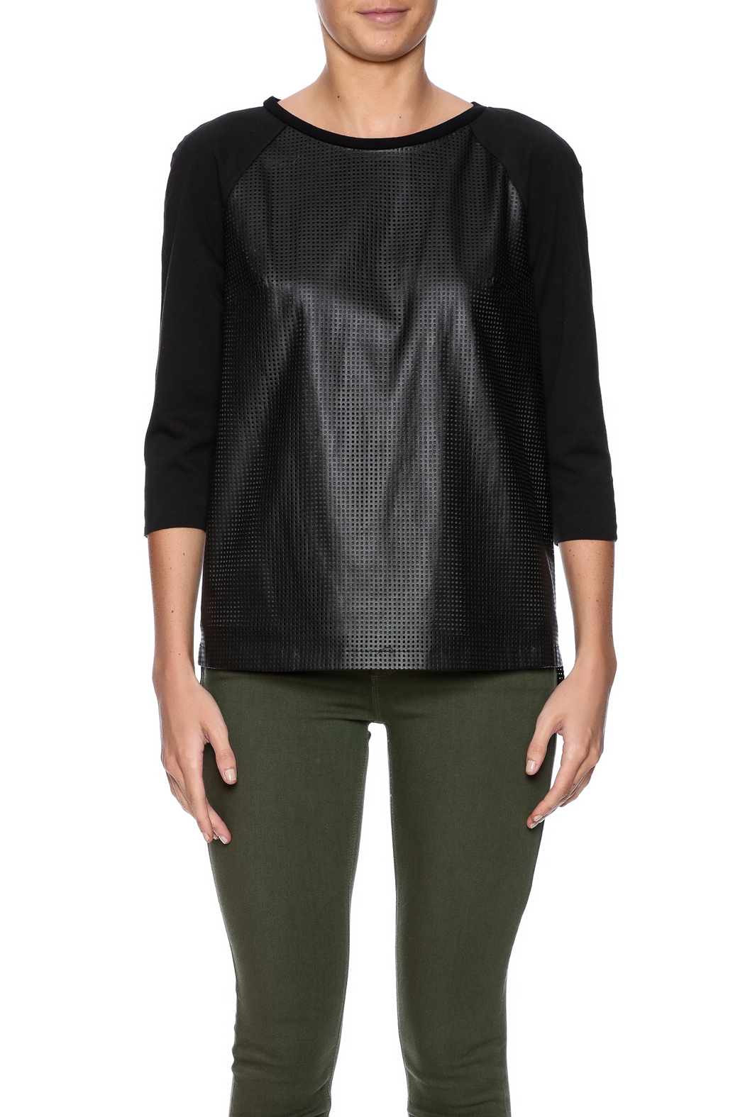 Tahari Laser Cut Top - Side Cropped Image