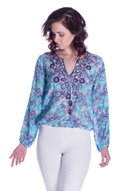 Taj by Sabrina Crippa Beaded Print Blouse - Product Mini Image