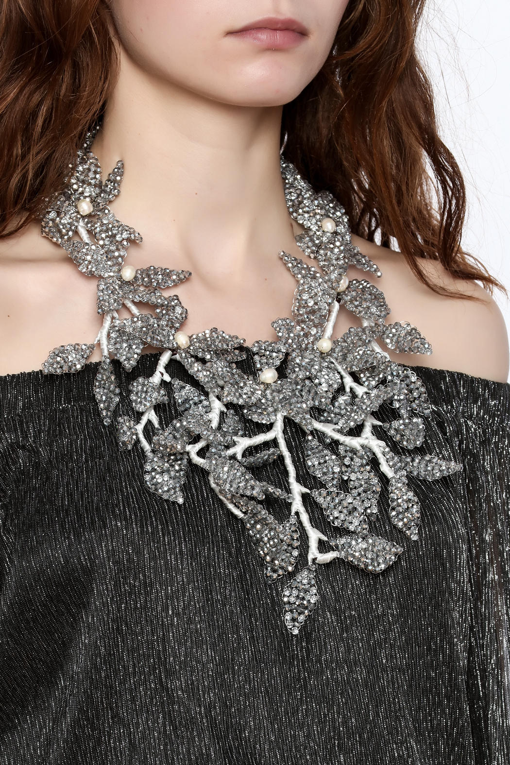 Takai by Angela Beracha Cluster Statement Necklace - Back Cropped Image