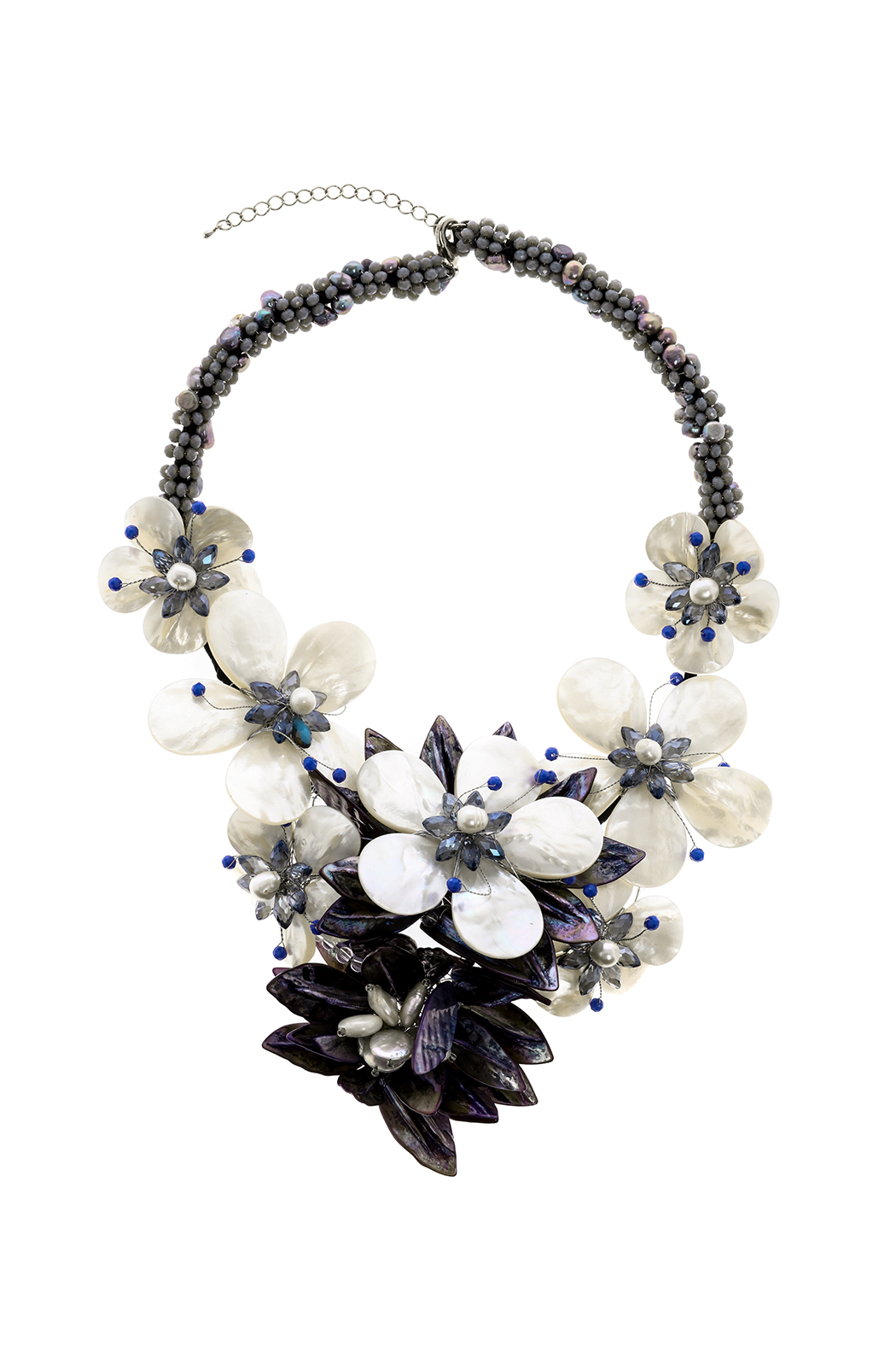Takai by Angela Blue Agate Statement Necklace - Front Cropped Image