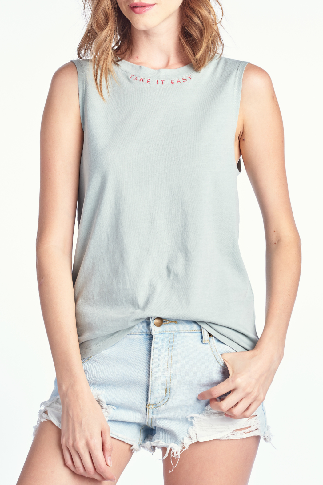 Knit Riot Take It Easy Embroidered Tank - Main Image