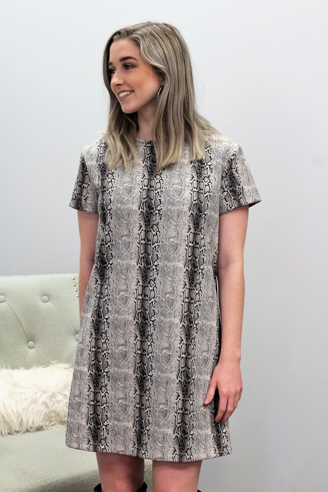 She and Sky Take Me Out Tonight Python Shift Dress - Front Full Image