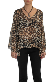 Kay Celine Talia Sheer V Neck Wide Bell Slv Top - Product Mini Image