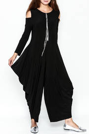 Talk of the Walk Cold Shoulder Harem Jumpsuit - Product Mini Image