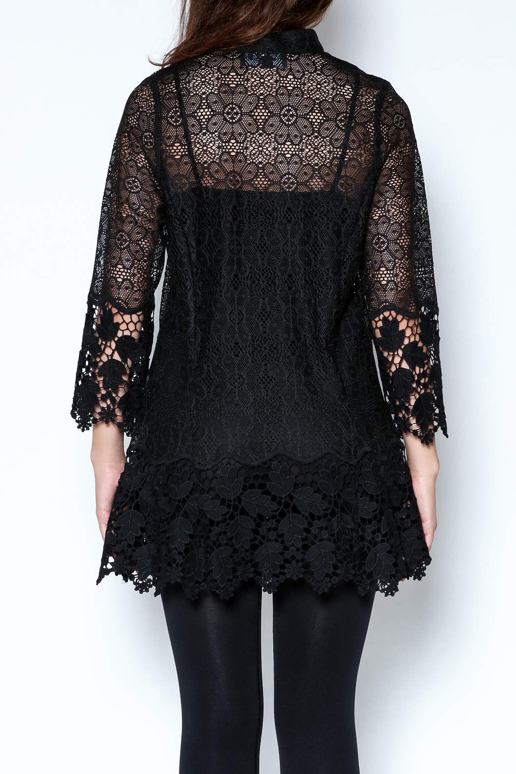 Talk of the Walk Crochet Lace Blouse - Back Cropped Image