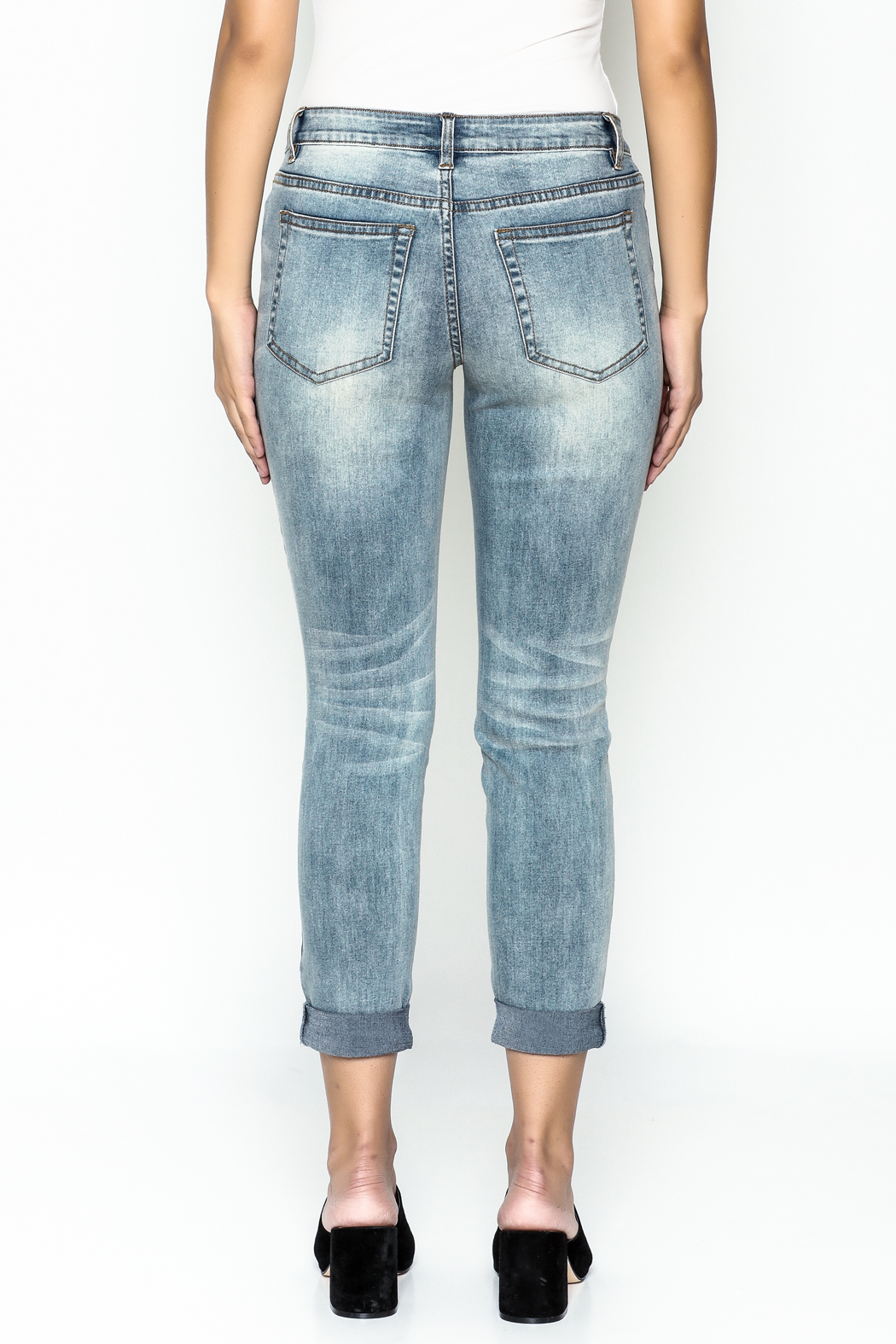 Talk of the Walk Crystal Patch Denim Jeans - Back Cropped Image