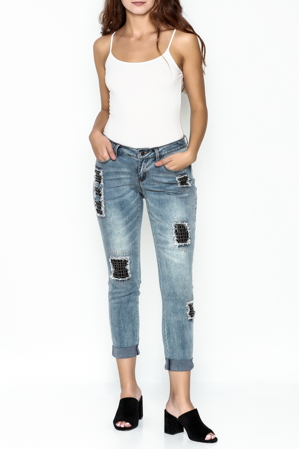 Talk of the Walk Crystal Patch Denim Jeans - Side Cropped Image