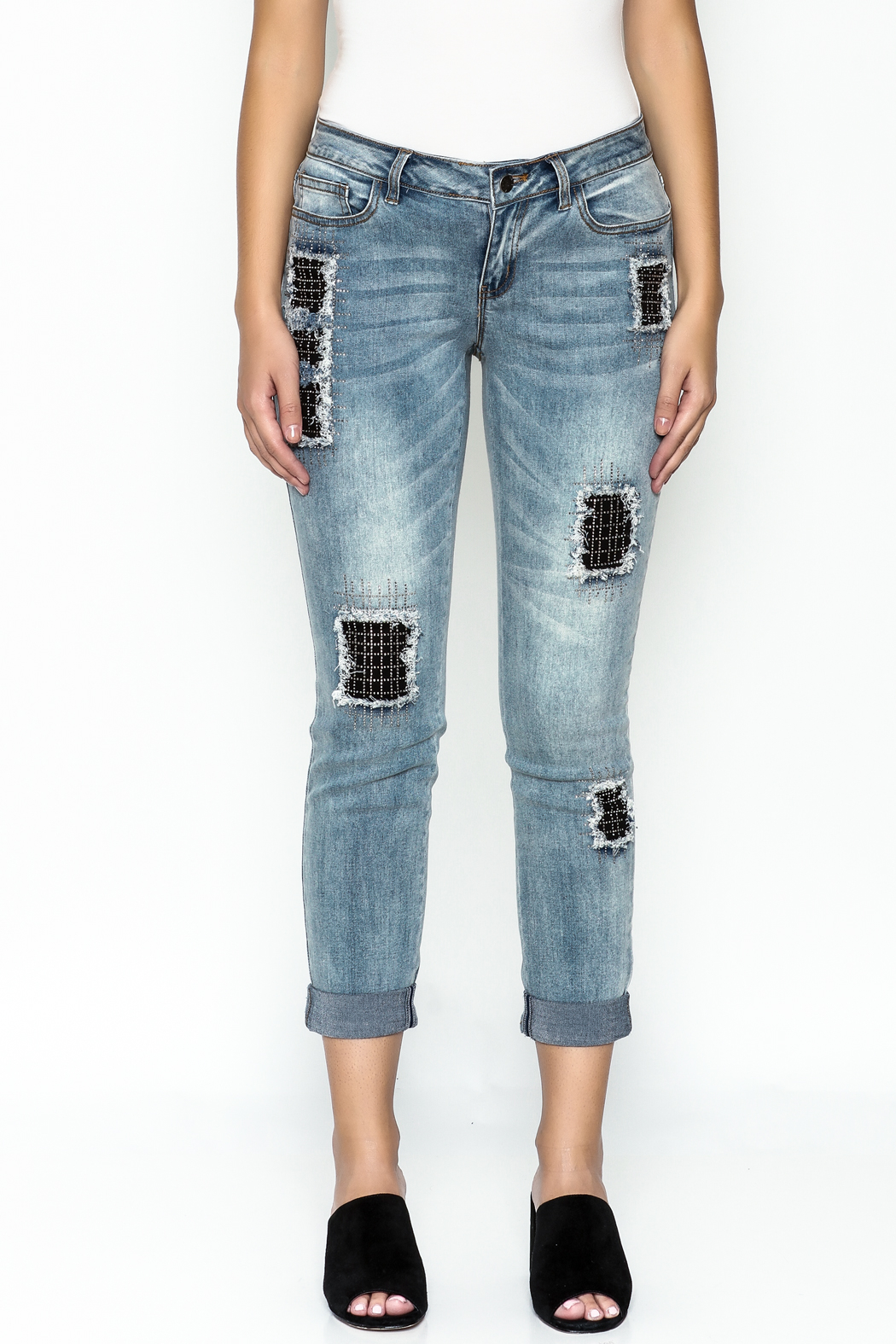 Talk of the Walk Crystal Patch Denim Jeans - Front Full Image