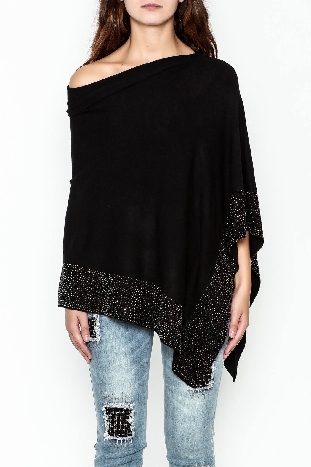 Talk of the Walk Crystal Ribbed Poncho - Front Full Image