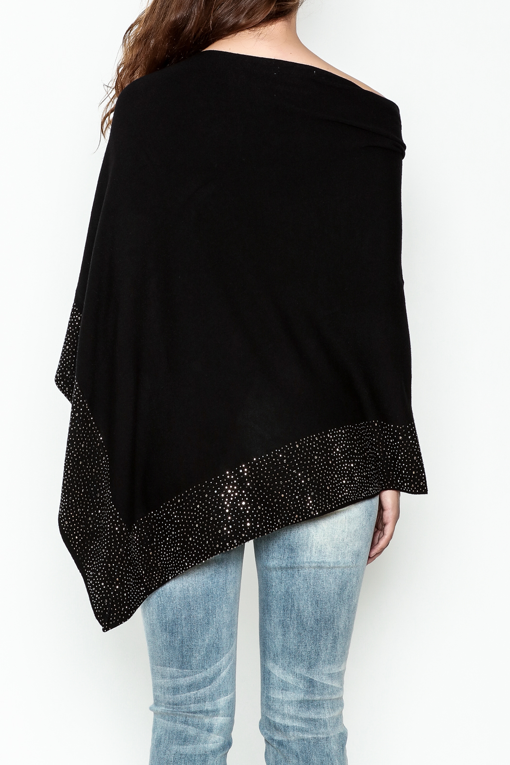 Talk of the Walk Crystal Ribbed Poncho - Back Cropped Image