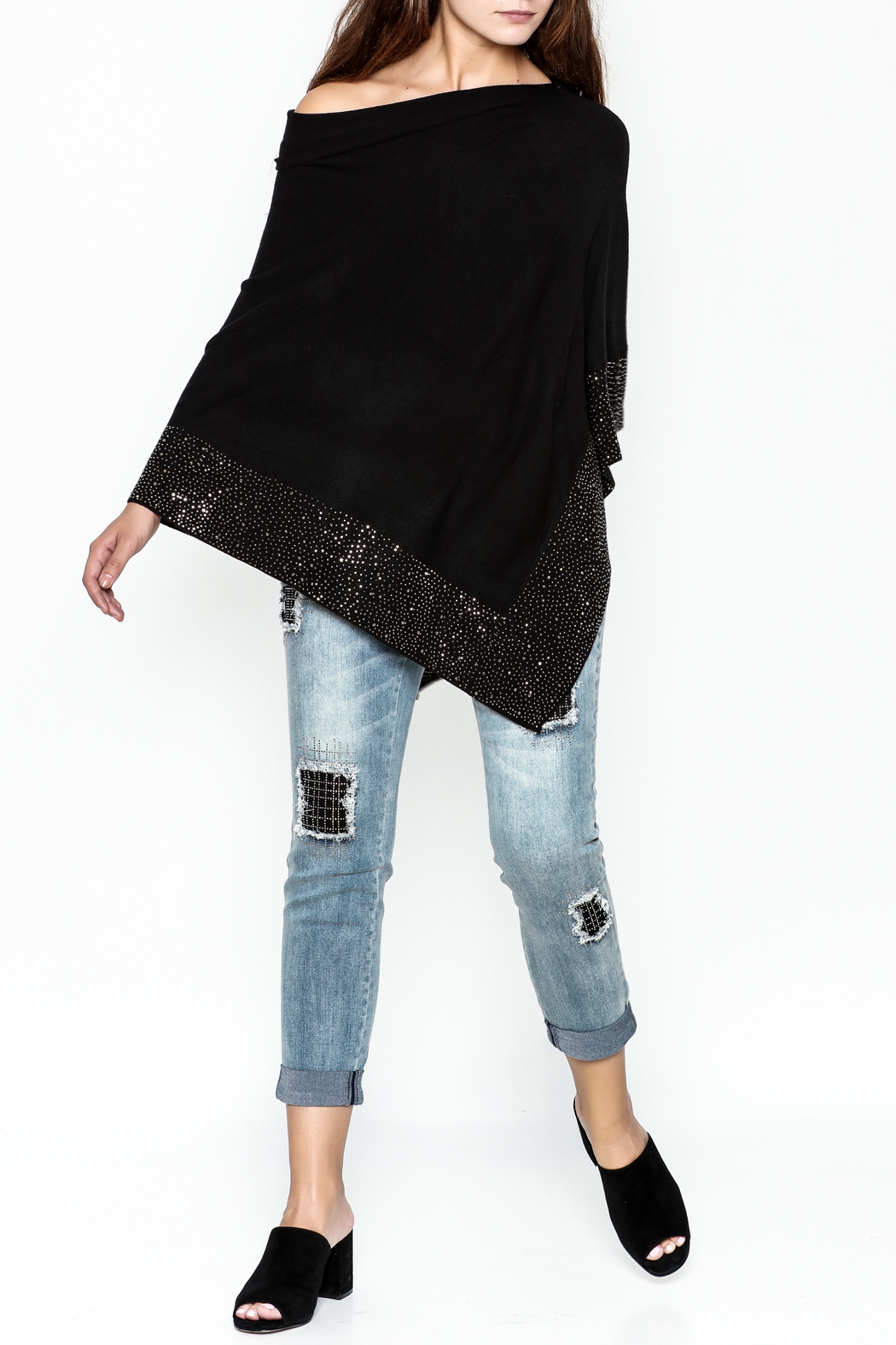 Talk of the Walk Crystal Ribbed Poncho - Side Cropped Image