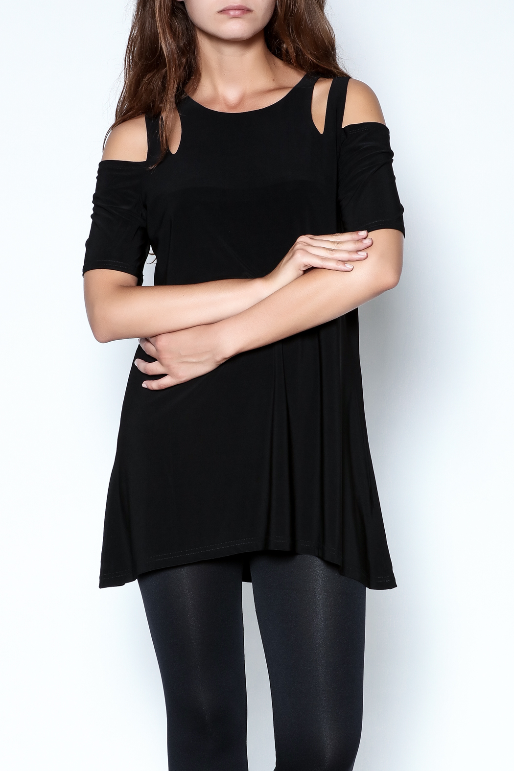 Talk of the Walk Cutworks Cold Shoulder Tunic - Main Image