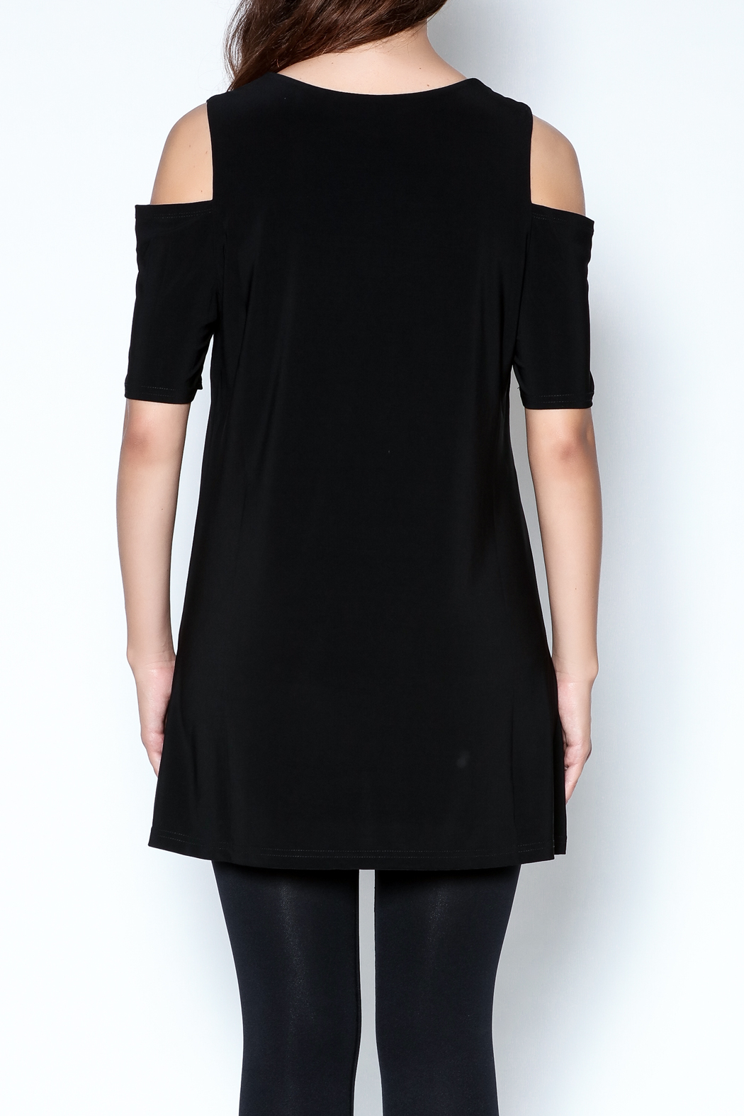 Talk of the Walk Cutworks Cold Shoulder Tunic - Back Cropped Image