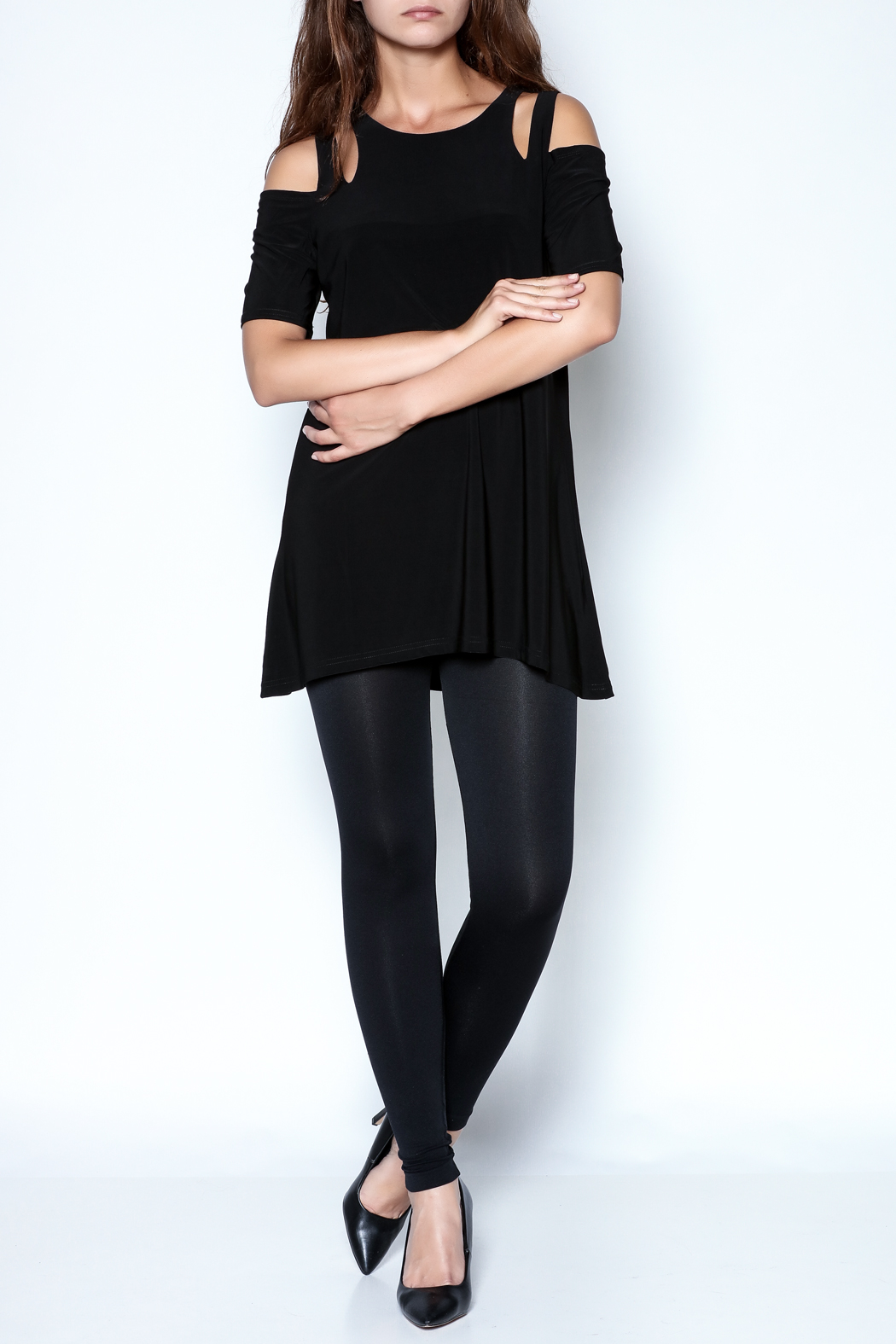 Talk of the Walk Cutworks Cold Shoulder Tunic - Front Full Image