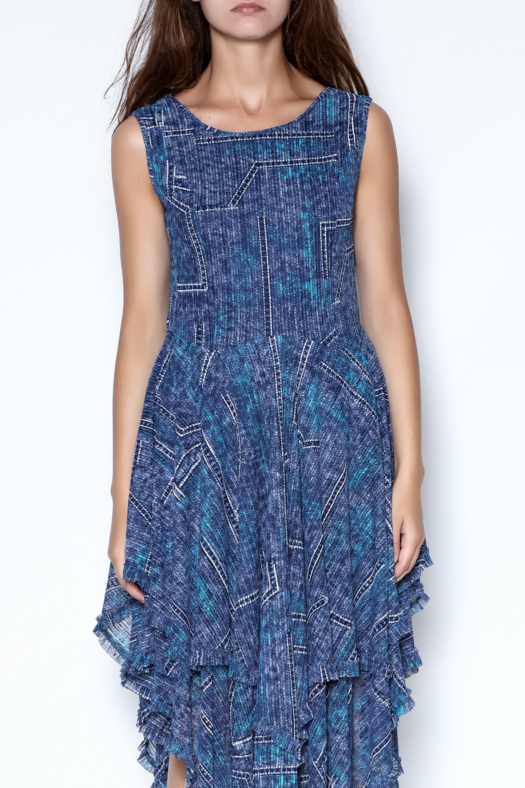 Talk of the Walk Denim Print Dress - Front Cropped Image