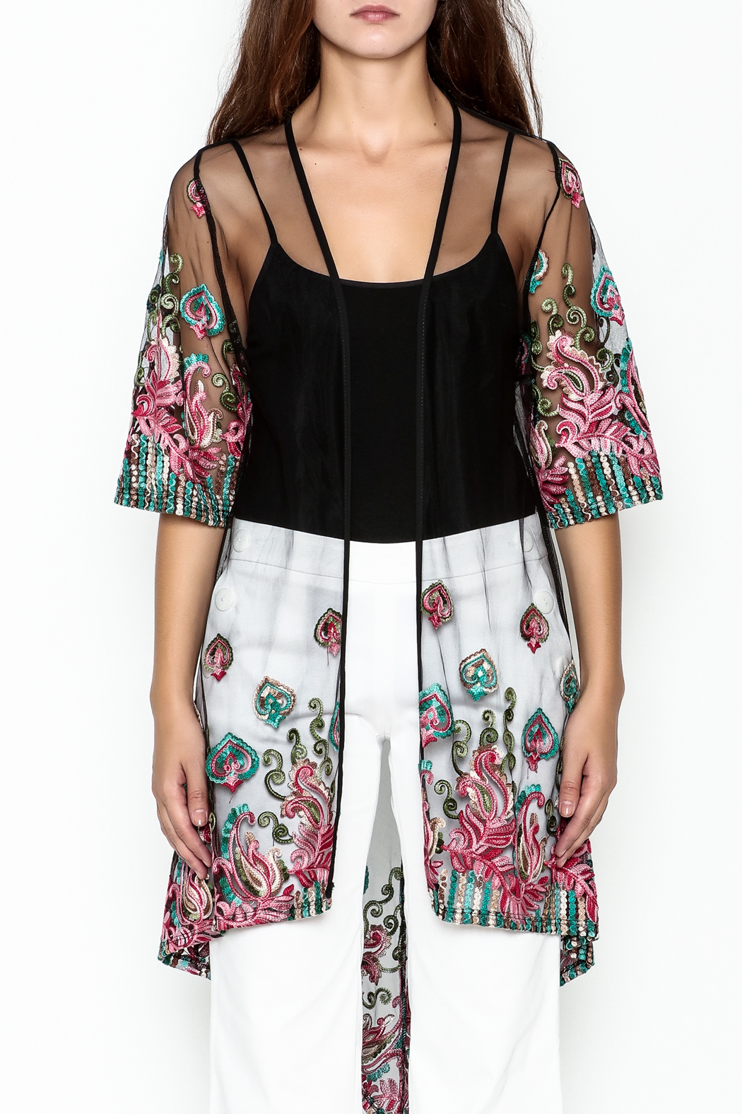 Talk of the Walk Embroidered Sheer Duster - Front Full Image