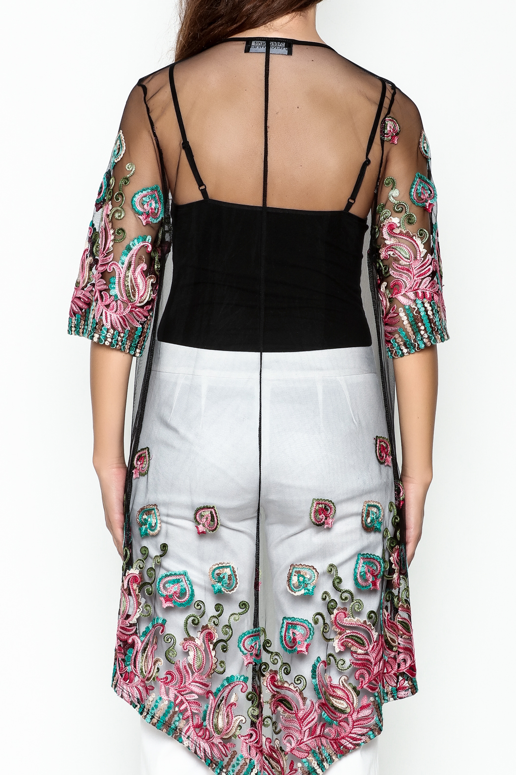 Talk of the Walk Embroidered Sheer Duster - Back Cropped Image