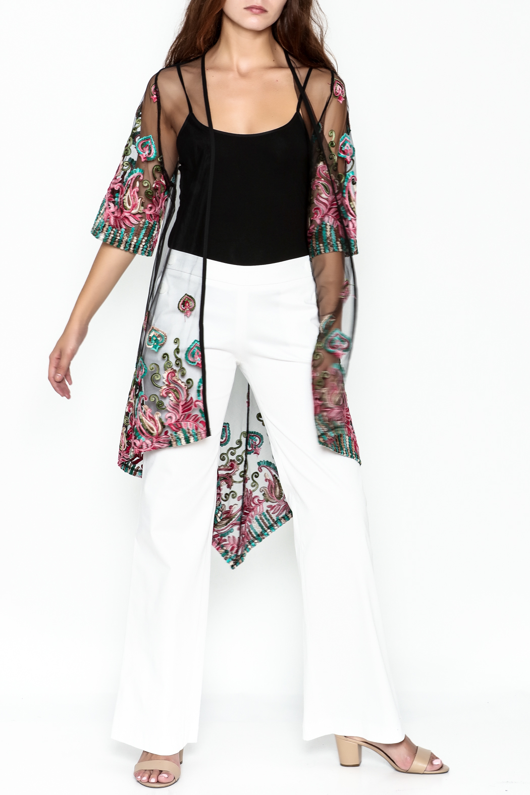Talk of the Walk Embroidered Sheer Duster - Side Cropped Image