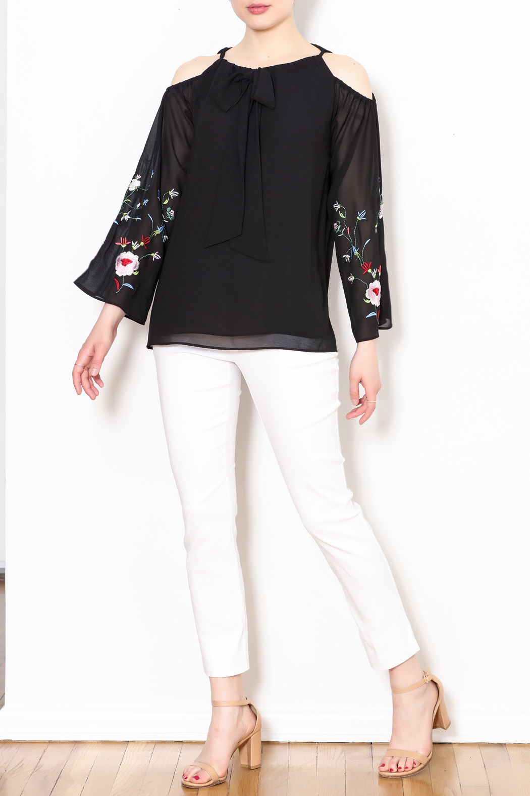 Talk of the Walk Embroidered Sleeve Blouse - Side Cropped Image