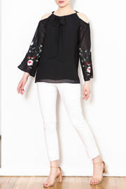 Talk of the Walk Embroidered Sleeve Blouse - Side cropped