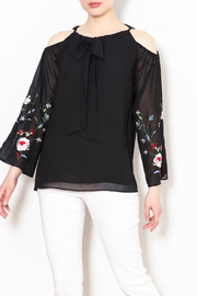 Talk of the Walk Embroidered Sleeve Blouse - Front cropped