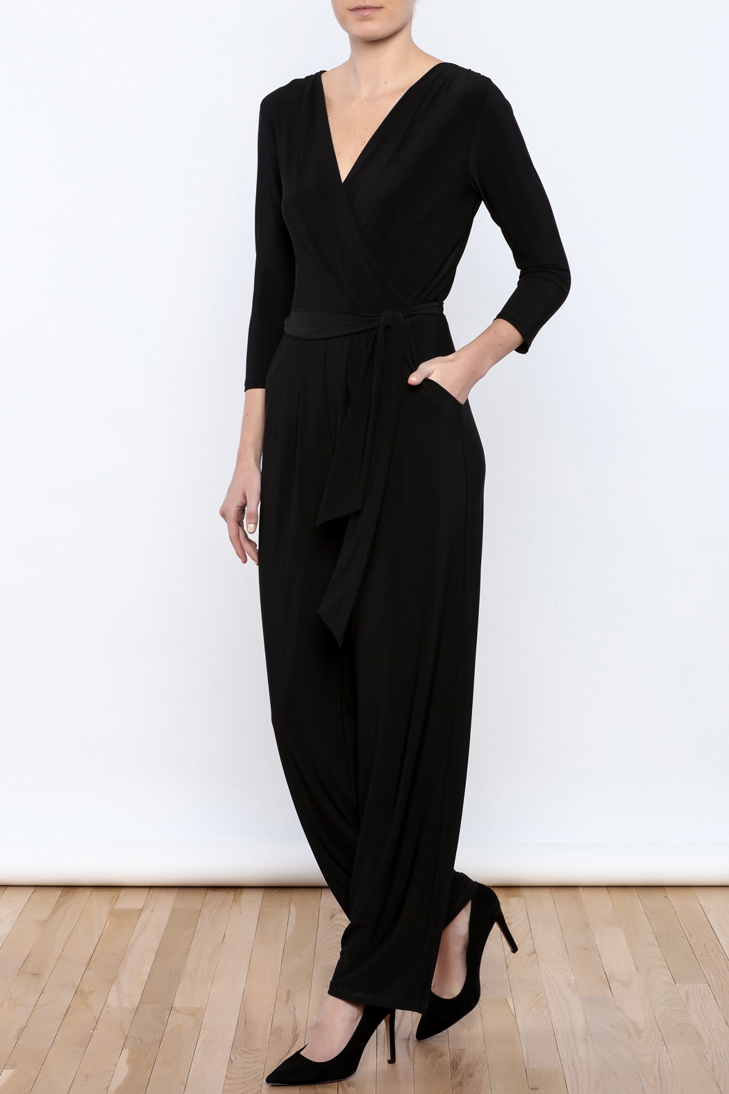 Talk of the Walk Faux Wrap Jumpsuit - Main Image