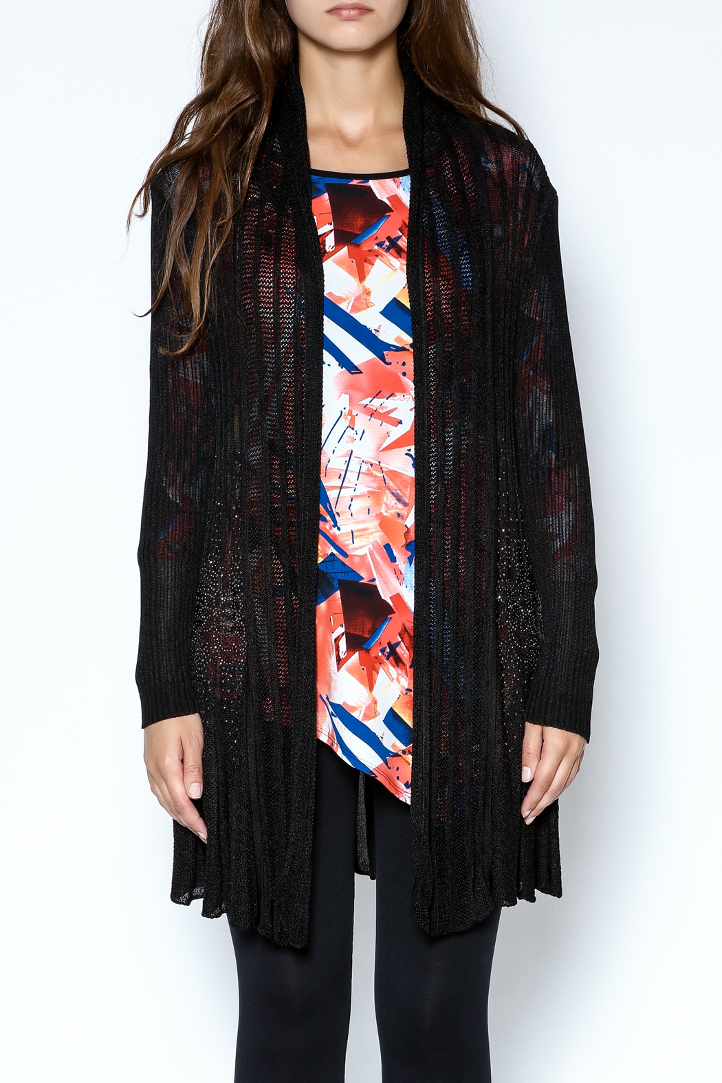 Talk of the Walk Floral Crystal Cardigan - Front Full Image