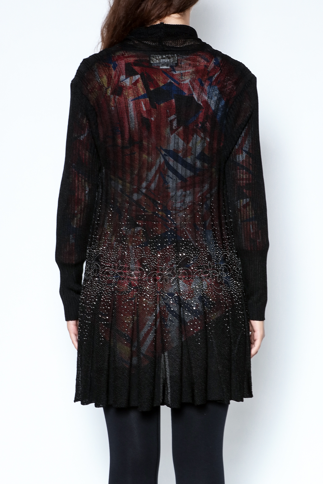 Talk of the Walk Floral Crystal Cardigan - Back Cropped Image
