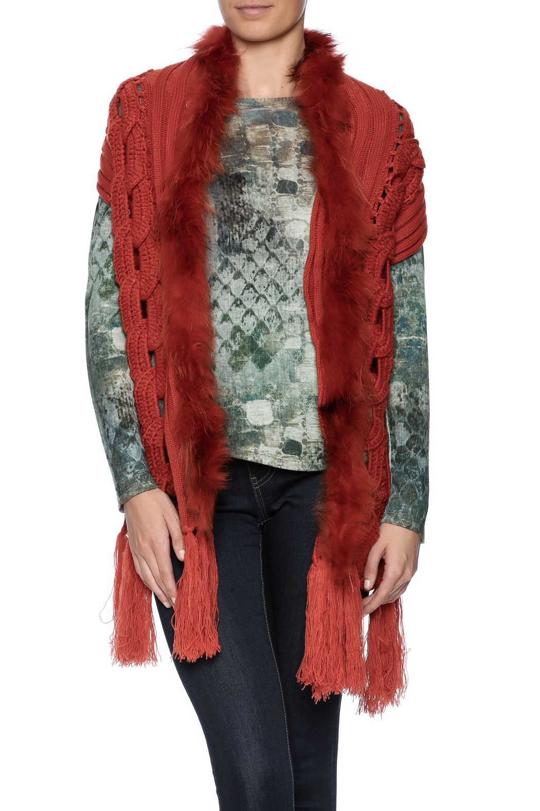 d91e591780d Talk of the Walk Fox Trim Cable Knit Vest from Atlantic City ...