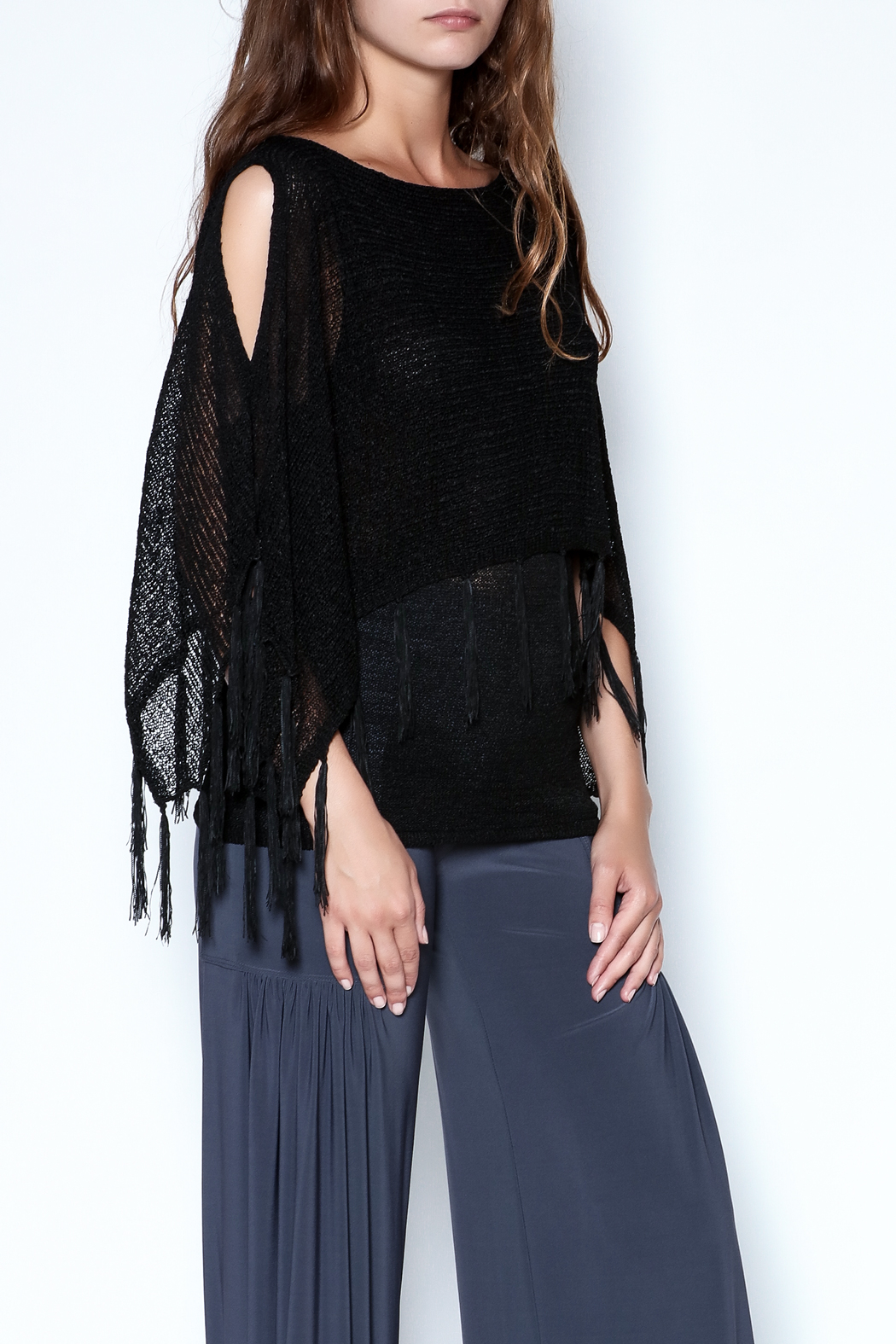 Talk of the Walk Fringe Capelet Sweater - Main Image