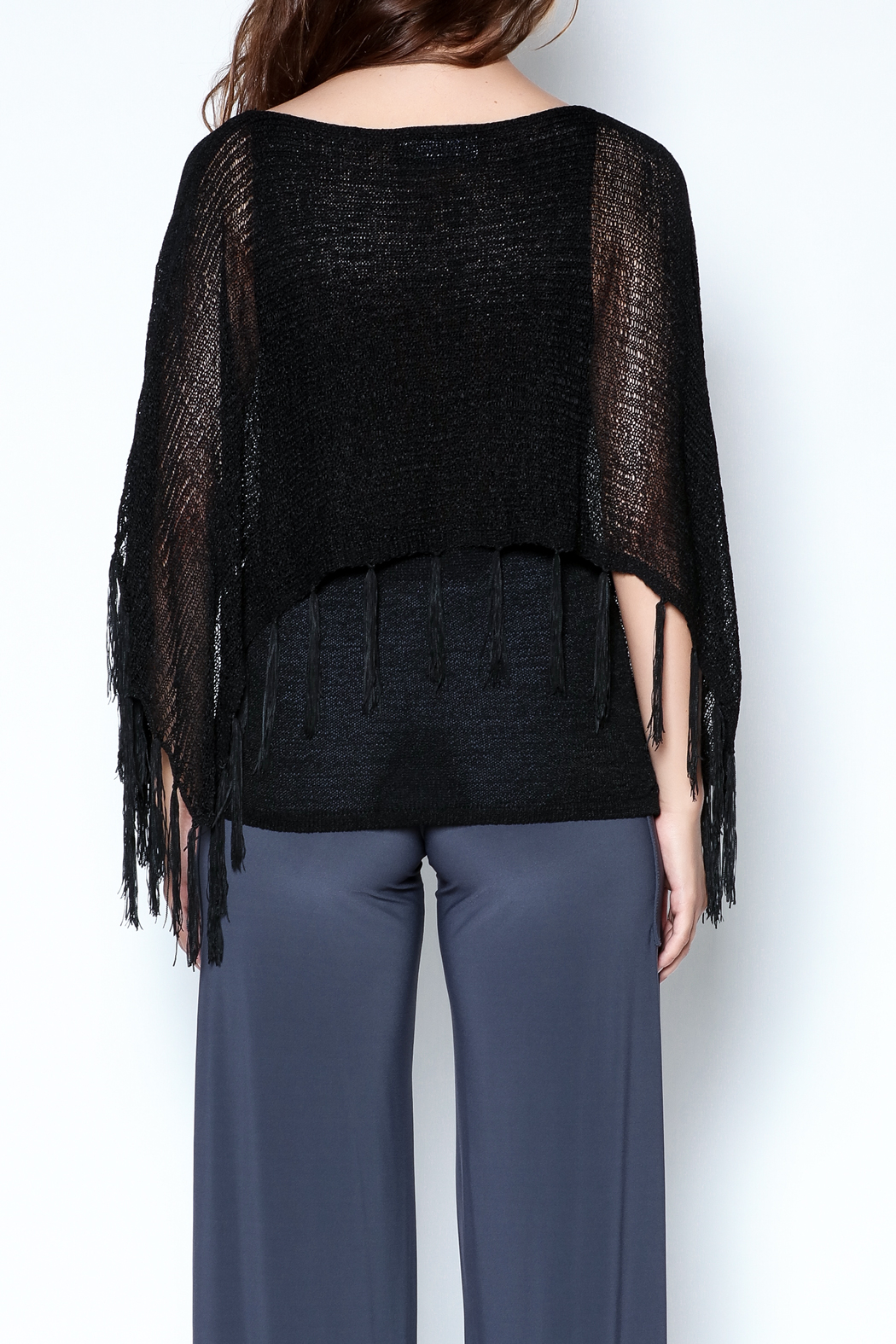 Talk of the Walk Fringe Capelet Sweater - Back Cropped Image