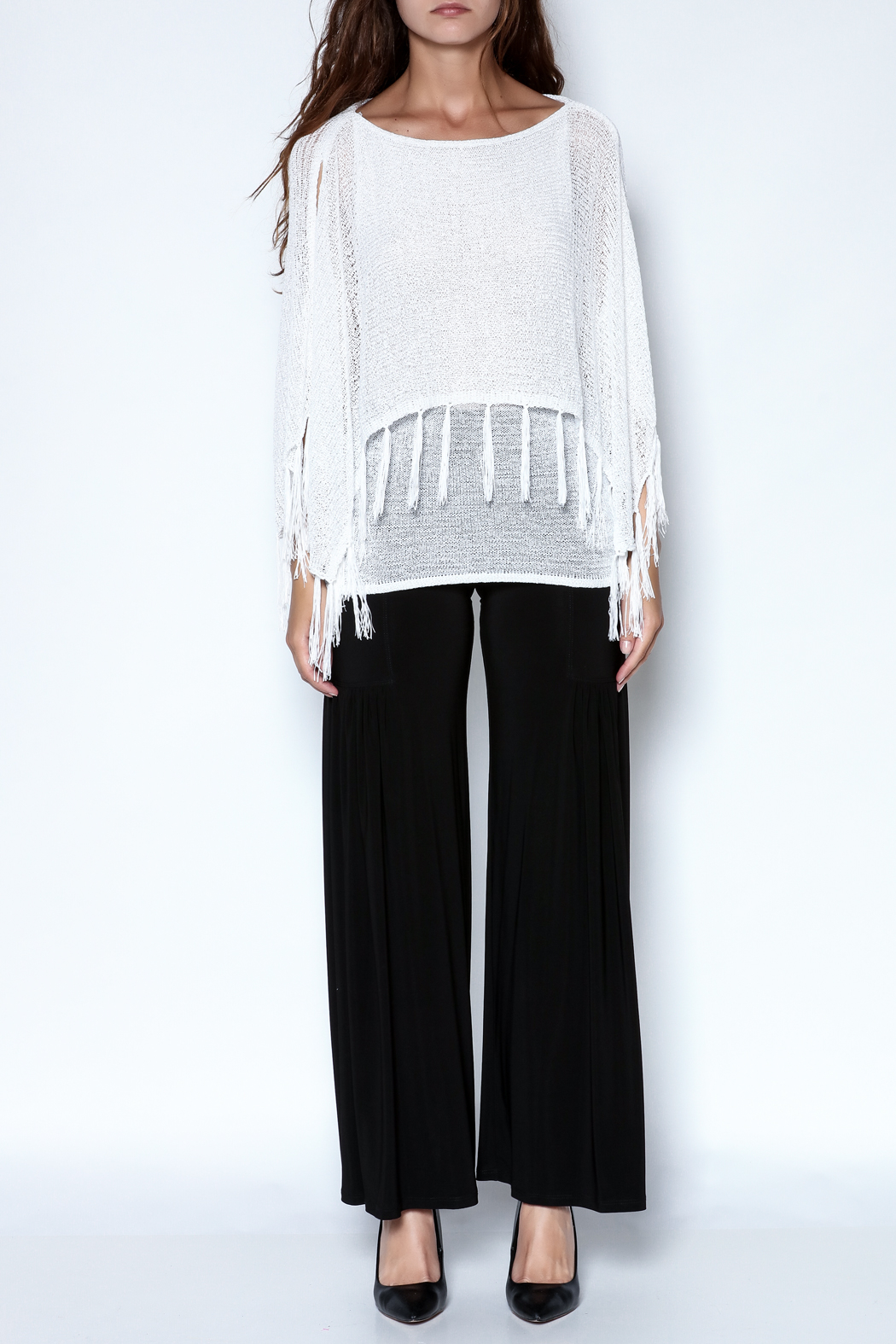 Talk of the Walk Fringe Capelet Sweater - Front Full Image