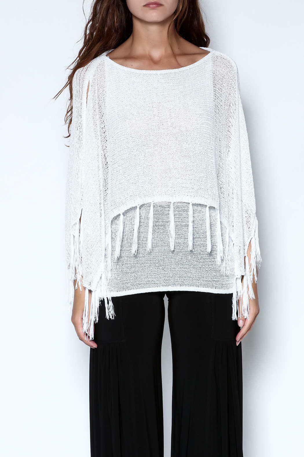 Talk of the Walk Fringe Capelet Sweater - Front Cropped Image