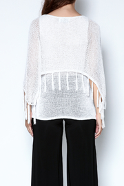 Talk of the Walk Fringe Capelet Sweater - Back cropped