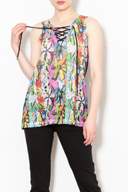 Talk of the Walk Lace-up Floral Top - Product Mini Image